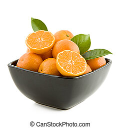 Tangerines in a bowl - Fresh juicy tangerines in black bowl...