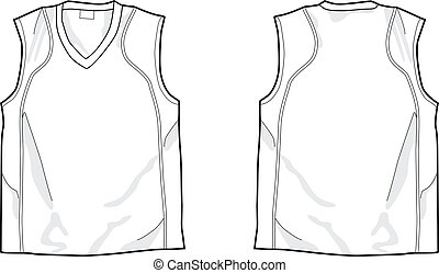 White sleeveless shirt template, front and back, easy...