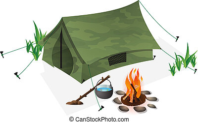 Camping - Leisure in wilderness, vector tent and campfire