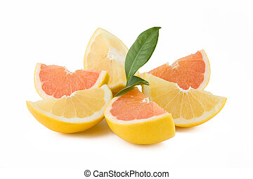 Grapefruits parts - Juicy white and red grapefruits parts...