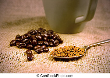 coffee beans and instant coffee and mug