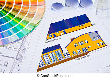 Architectural drawings - Palette of colors designs on...