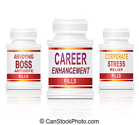 Workplace coping strategy - Illustration depicting three...