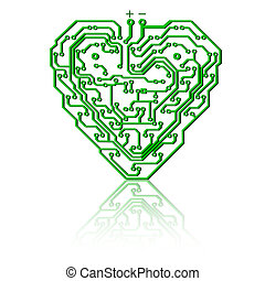 Circuit board pattern in the shape of the heart.