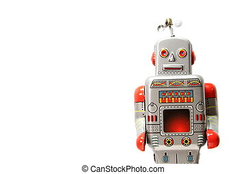An old mecanical robot isolated on the white background