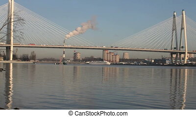 modern cable-stayed bridge over the River Neva in St....