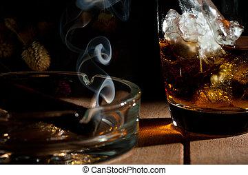 a, glas, Whiskey, rökning, cigarr, askkopp