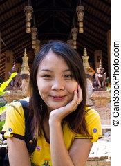 Thai Girl in Wat Phalad, Chiangmai Thailand