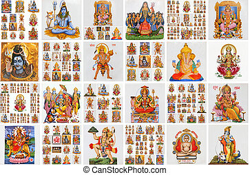 collection of hindu religious icons on ceramic tiles as...