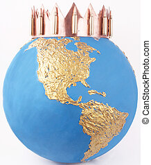 crown - A crown from copper with 556mm on a golden globe