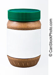 Peanut Butter - Jar of Peanut Butter on white background