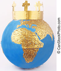 crown - A golden crown with crosses on a golden globe