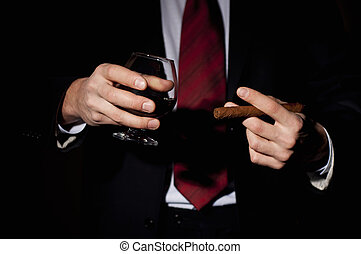 rico, cigarro, asideros, persona,  whisky