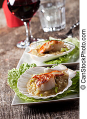 pair of grilled scallops