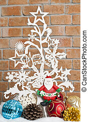 White see through Christmas tree with Santa and balls