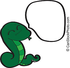 cartoon green snake with thought bubble