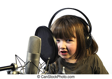 little girl recording her speach