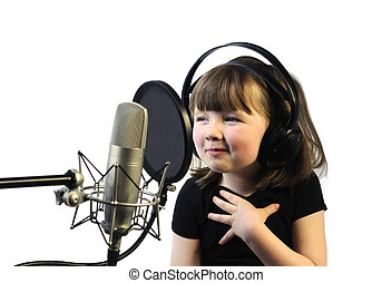little girl satisfied with her song recording