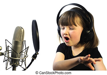 engrossed in recording - little girl engrossed in recording...