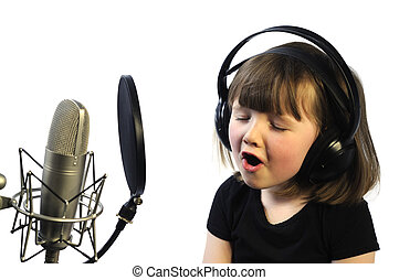 recording - little girl engrossed in recording a song