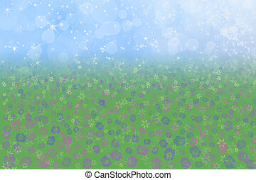 Spring Background Sky Grass Flowers
