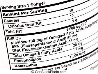 Krill oil  - Label on krill oil supplement bottle