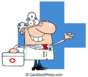 Doctor Waving Over A Blue Cross