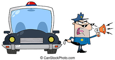 Police Officer - Traffic Police Officer Yelling Through A...