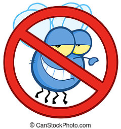 Illustration Of Stop Fly Sign Cartoon Character
