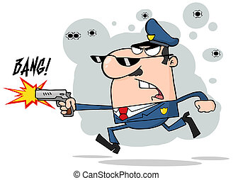 Police Man Running With A Gun And Shooting