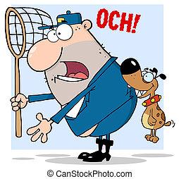 Dog Biting A Dog Catcher - Dog Biting A Dog Cartoon...