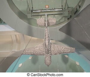 The aircraft model in the wind tunnel