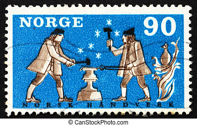 Postage stamp Norway 1968 Two Smiths - NORWAY - CIRCA 1968:...