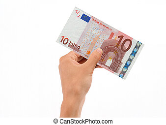 Hand Holding 10 Euro Bill isolated on white background