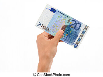 Hand Holding 20 Euro Bill on white background.