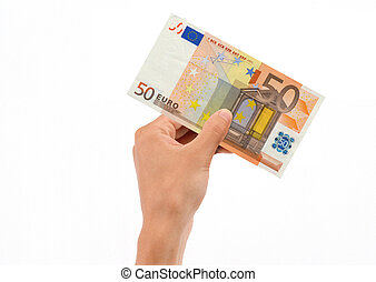Hand Holding 50 Euro Bill isolated on white background.