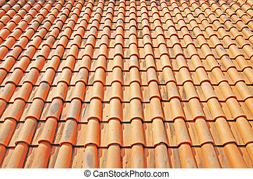 Tile Roof - Detail of a red clay tile roof