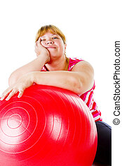 fat woman fitness - tired fat woman with big red gymnastic...