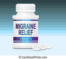Migraine medication. - Illustration depicting a single...