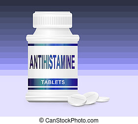 Antihistamine medication. - Illustration depicting a single...