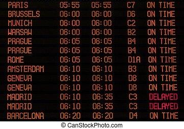 Airport timetable - An Airport Ben Gurion, Tel Aviv, Israel...