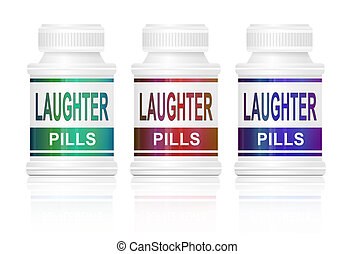 Laughter pills. - Illustration depicting three medication...