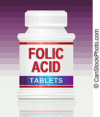 Folic acid. - Illustration depicting a single medication...