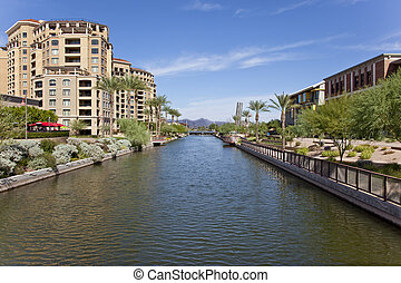 Scottsdale Arizona Waterfront Distr - Buildings along the...