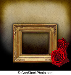 Golden frame and two red roses - Vintage golden frame on an...