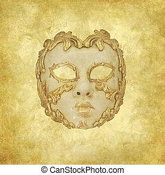 Golden ornated Venetian mask on a floral grunge background
