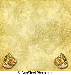 Venetian masks golden background - Two golden vintage...