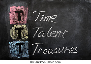 Acronym of TTT for Time, Talent, Treasures written on a...