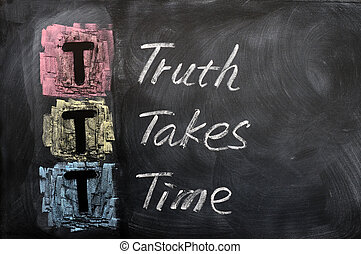 Acronym of TTT for Truth Takes Time written on a blackboard