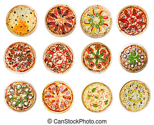 twelve different pizzas put in one set
